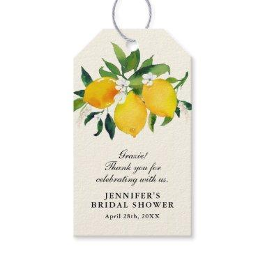 Country Lemon and Flowers Bridal Shower Gift Tags