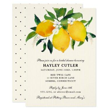 Country Lemon & Flowers Shower Invitations