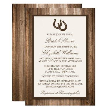 Country Rustic Horseshoe Brown Wood Bridal Shower Invitations