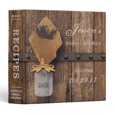 Country Rustic Lavender Mason Jar  Binder