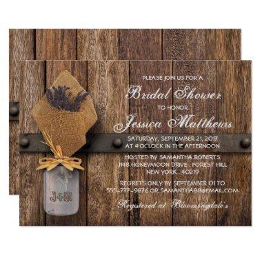 Country Rustic Lavender Mason Jar Bridal Shower Invitations
