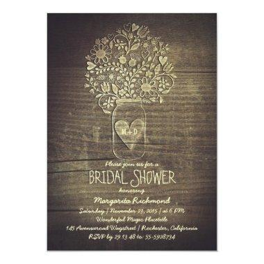 country rustic mason jar floral bridal shower Invitations