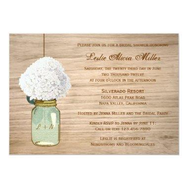Country Rustic Mason Jar Hydrangea Bridal Shower Invitations