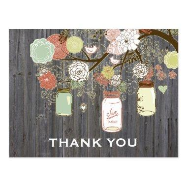 Country Rustic Mason Jars Bridal Shower Thank You PostInvitations