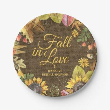 Country Rustic Sunflower Burlap Fall  Paper Plate