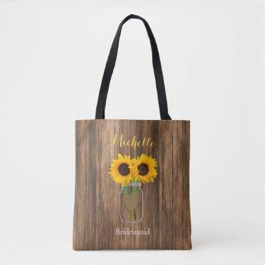 Country Sunflower Mason Jar - Team Bride Tote Bag