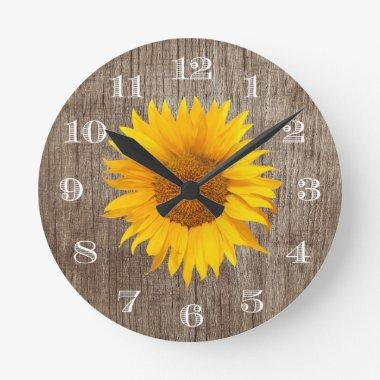 Country Sunflower Rustic Barn Wood Vintage Round Clock