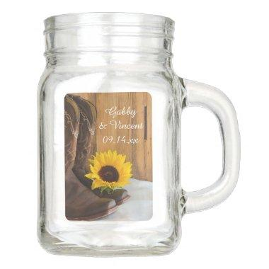 Country Sunflower Western Wedding Favor Mason Jar