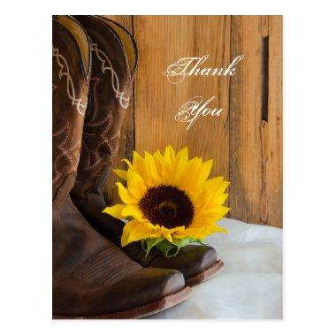 Country Sunflower Western Wedding Thank You Post