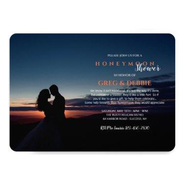 Couple Embracing Honeymoon Bridal Shower Invitations