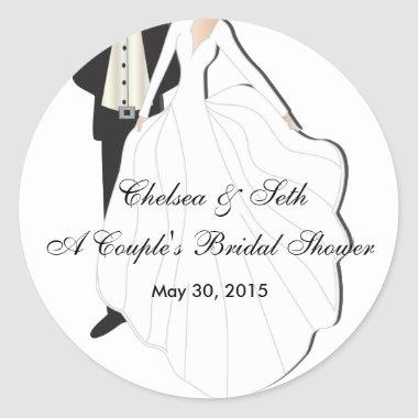 Couple's Bridal Shower Classic Round Sticker
