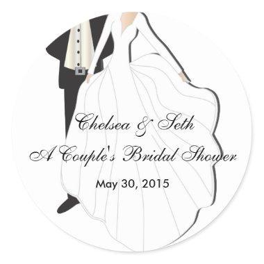 Couple's Bridal Shower Classic Round Sticker