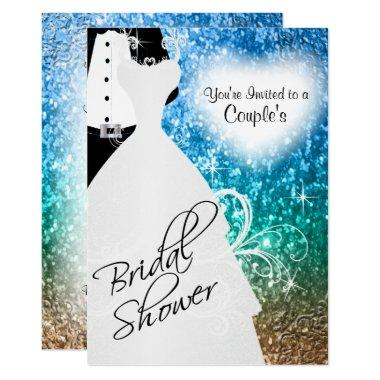 Couple's Bridal Shower in an Elegant Beach Glitter Invitations