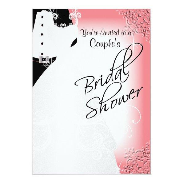 Couple's Bridal Shower in an Elegant Coral Invitations