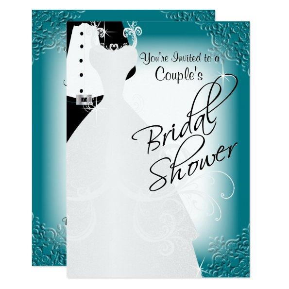 Couple's Bridal Shower in an Elegant Dark Teal Invitations