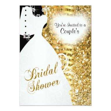 Couple's Bridal Shower in an Elegant Gold Glitter Invitations