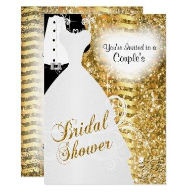 Couple's Bridal Shower in an Elegant Gold Glitter Invitations