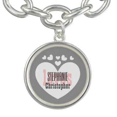 Couples Custom Name with Hearts SILVER and PINK Bracelet