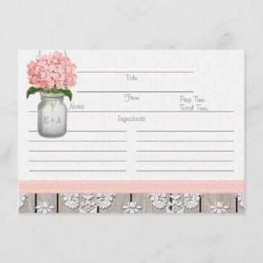 Couples Pink Hydrangea Mason Jar Recipe Invitations