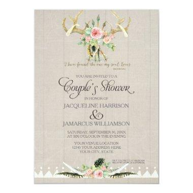 Couples Shower BOHO Feathers Deer Antler Roses Art