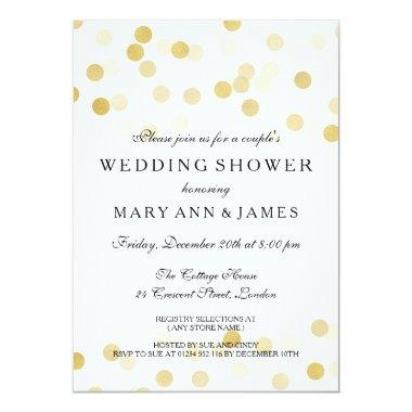 Couple's Wedding Shower Gold Foil Glitter Lights