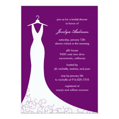 Couture Gown Bridal Shower Invitations (Purple)
