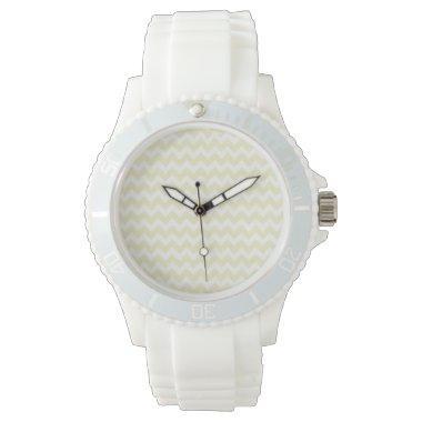 Cream Chevron; zig zag Wrist Watch