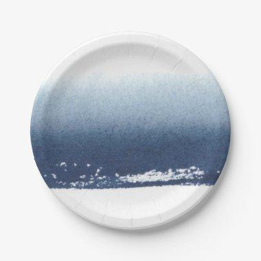 Create Own Peronalized Gift - Watercolor Navy Blue Paper Plate