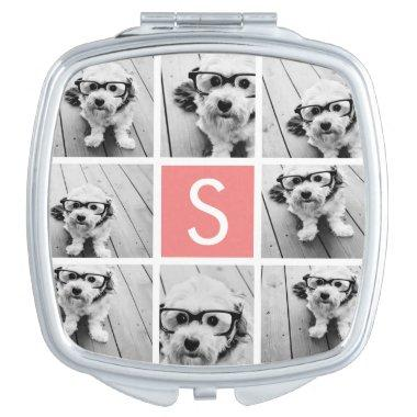 Create Your Own Instagram Collage Custom Monogram Compact Mirror