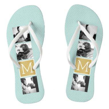 Create Your Own Wedding Photo Collage Monogram Flip Flops