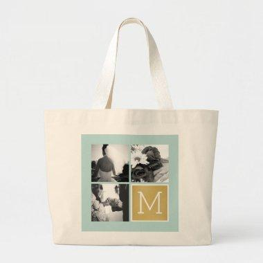 Create Your Own Wedding Photo Collage Monogram Large Tote Bag