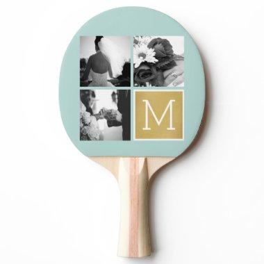 Create Your Own Wedding Photo Collage Monogram Ping-Pong Paddle