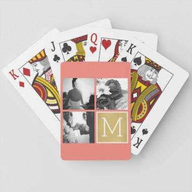 Create Your Own Wedding Photo Collage Monogram Playing Invitations