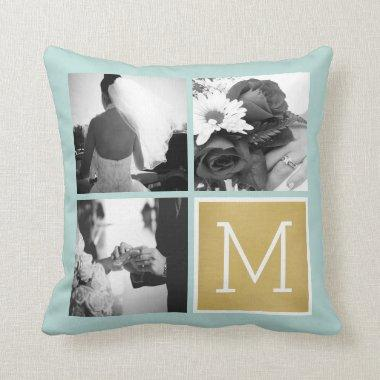 Create Your Own Wedding Photo Collage Monogram Throw Pillow