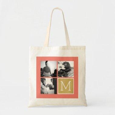 Create Your Own Wedding Photo Collage Monogram Tote Bag