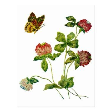 Crewel Embroidered Irish Clover PostInvitations