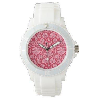 Crimson Damask Pattern Wrist Watch
