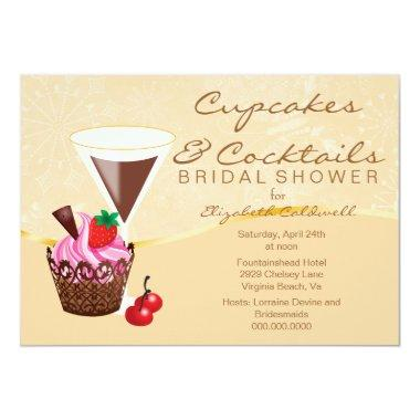 Cupcakes & Cocktails Bridal Shower Invitations