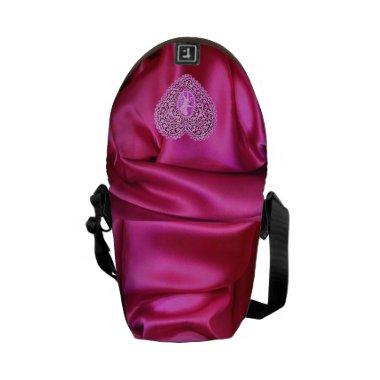 CUPID LACE HEART SILK PINK FUCHSIA CLOTH EFFECT COURIER BAG