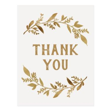Curved Branches | Gold Thank You PostInvitations