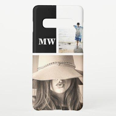 Custom 2 photo monogrammed initials samsung galaxy s10+ case