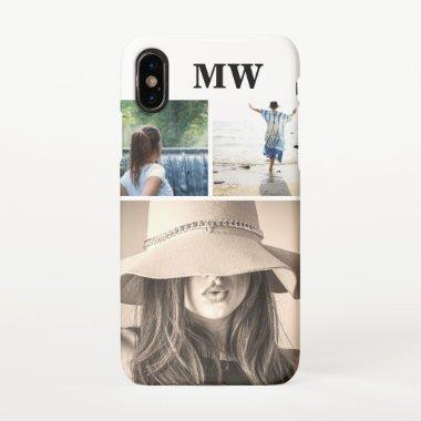 Custom 3 photo monogrammed initials iPhone XS case