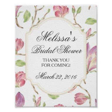 Custom  Sign, Watercolor Floral Poster