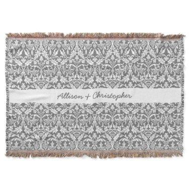 Custom Color Damask Pattern with Name A03 Throw Blanket