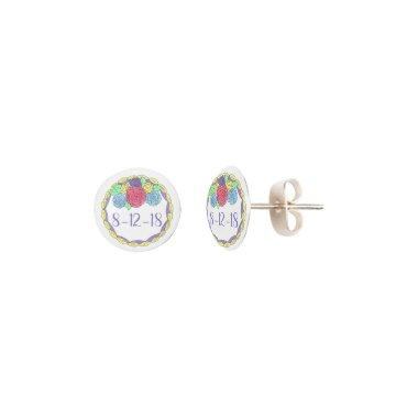 Custom Date Wedding Birthday Anniversary Cake Rose Earrings