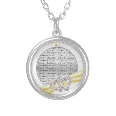 Custom Hearts Lemon Ribbon Necklace