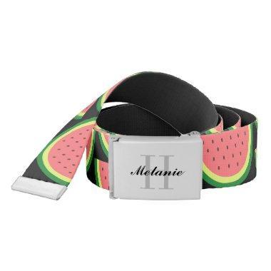 Custom monogram and watermelon pattern canvas belt