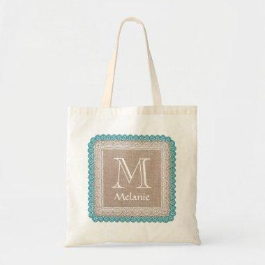 Custom Monogram Name Rustic Burlap Teal Lace A05 Tote Bag