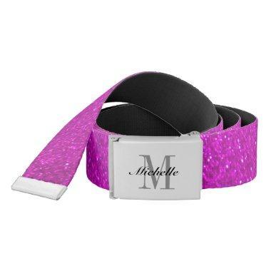Custom monogrammed faux pink glitter girl's belt