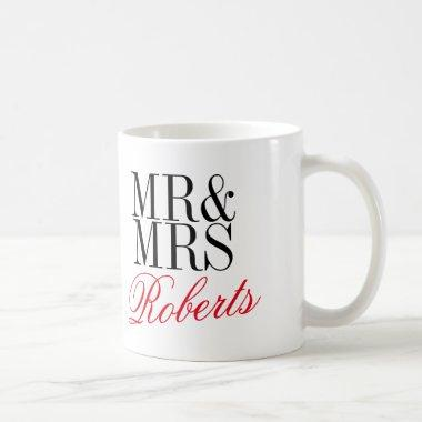 Custom Mr and Mrs engagement or anniversary mug